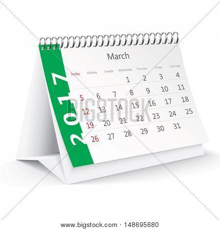 March 2017 desk calendar - vector illustration