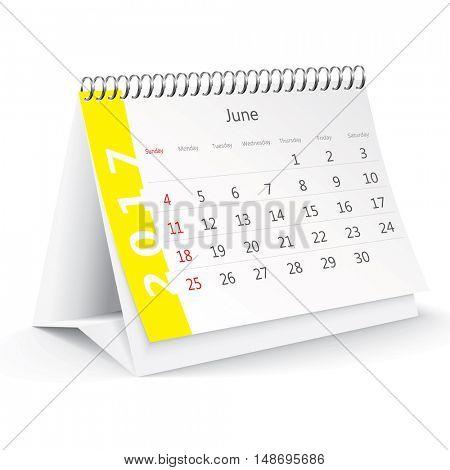 June 2017 desk calendar - vector illustration