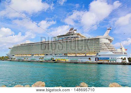 Nassau, Bahamas - April 13, 2015: Royal Caribbean cruise ship Allure of the Seas  docked at port of Nassau, Bahamas on April 13, 2015. It's the largest passenger ship ever built