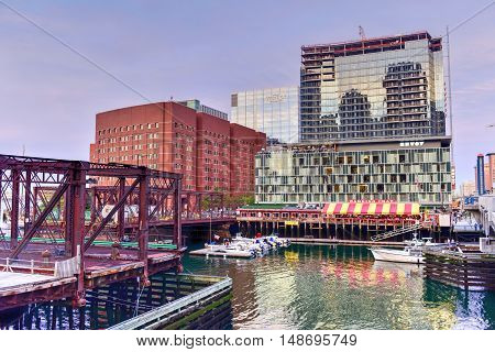 Boston, Massachusetts - September 5, 2016: Boston Harbor in Massachusetts USA with its mix of modern and historic architecture.