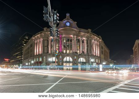 Boston Massachusetts - September 3 2016: Constructed in 1989 the South Station in Boston MA is the largest train station and intercity bus terminal in Greater Boston.