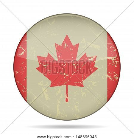 button with vintage national flag of Canada and shadow - grunge style