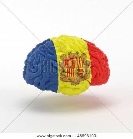 Andorra Flag on Human brain. 3D illustration.