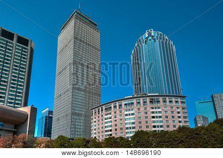 Boston, Massachusetts - September 5, 2016: Prudential Tower in downtown Boston Massachusetts USA.