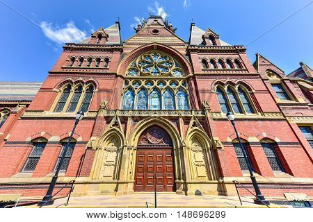 Boston, Massachusetts - September 5, 2016: Memorial Hall at Harvard University in Boston Massachusetts. Memorial Hall was erected in honor of Harvard graduates who fought for the Union in the American Civil War.