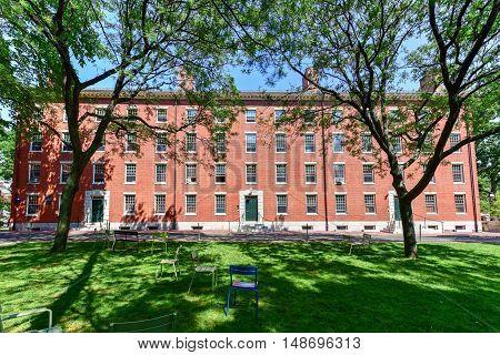 Boston, Massachusetts - September 5, 2016: Harvard Dorm Building on the campus in Boston Massachusetts.