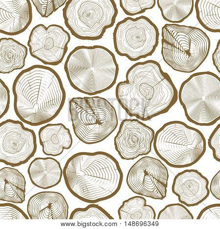 Wood ring saw cuts seamless pattern vector illustration