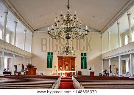 Boston, Massachusetts - September 5, 2016: St. Stephen's Church formerly the New North Church is a Roman Catholic church located at 401 Hanover Street in the North End of Boston Massachusetts.