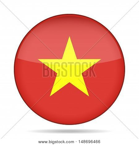 button with national flag of Vietnam and shadow