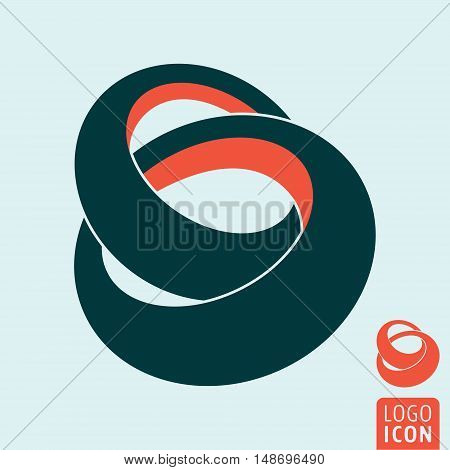 Ring icon. Linked rings symbol. Vector illustration