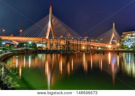 Boston, Massachusetts - September 5, 2016: Boston Leonard P. Zakim Bunker Hill Memorial Bridge at night in Bunker Hill Massachusetts USA.