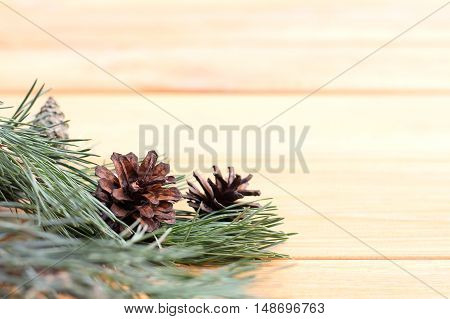 pine cones with branch on the background light wooden background / waiting for celebration