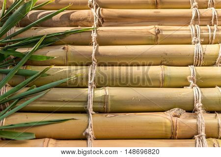 The surface of the bamboo with palm leaves. Natural materials. Natural background, texture.