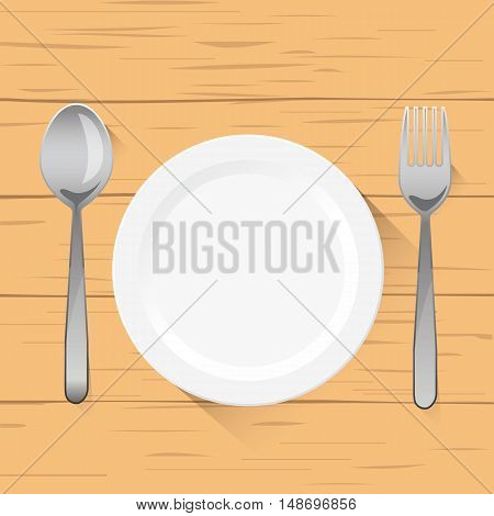 Vector illustration of empty white plate with spoon and fork top view. on wood background