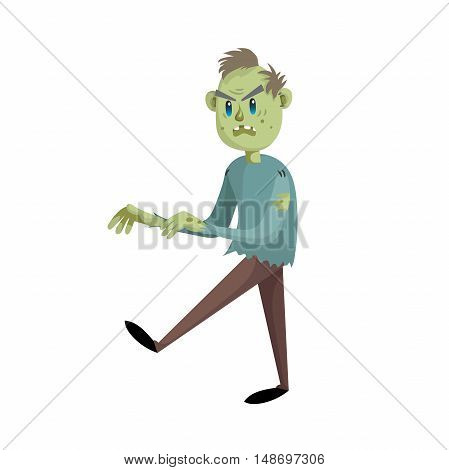 Walking cartoon man zombie character. Halloween simple gradient vector. Trendy design.