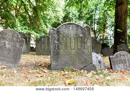 Famous landmark of history cemetery the Granary Burying ground in Boston in the summer.