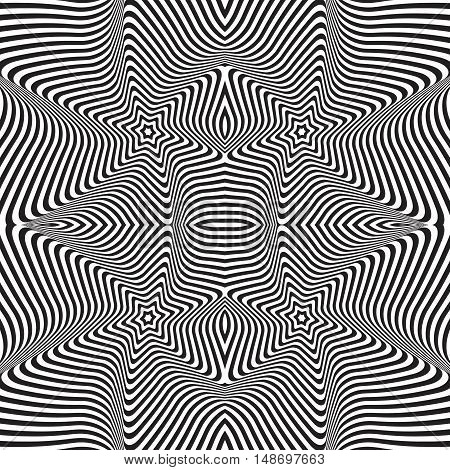 Abstract 3d effect wavy stripes background. Optical illusion.