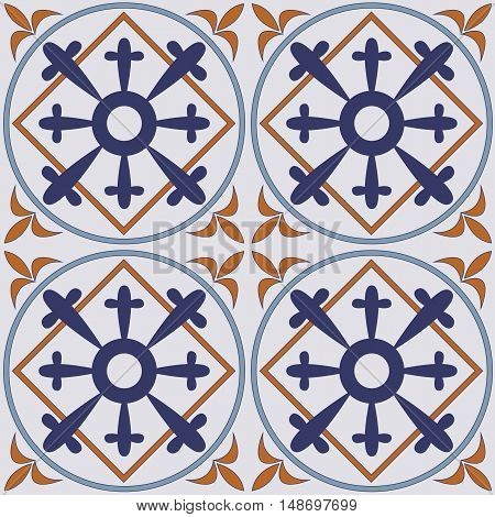 Traditional ornate portuguese tiles. Vector seamless pattern background. Repeating geometric tiles for  backgrounds and page fill and more.