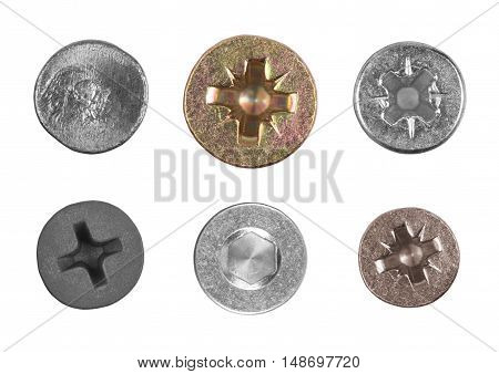 screws and nail heads isolated on white background