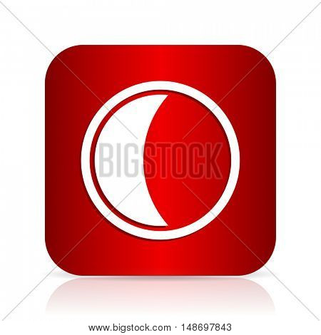 moon red square modern design icon