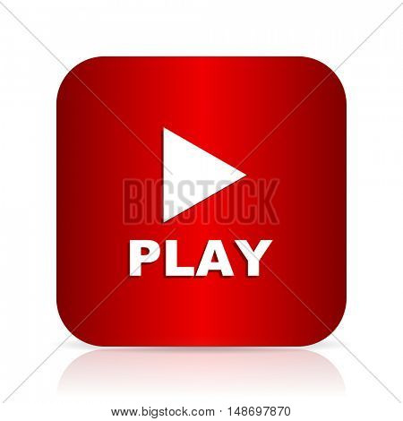 play red square modern design icon