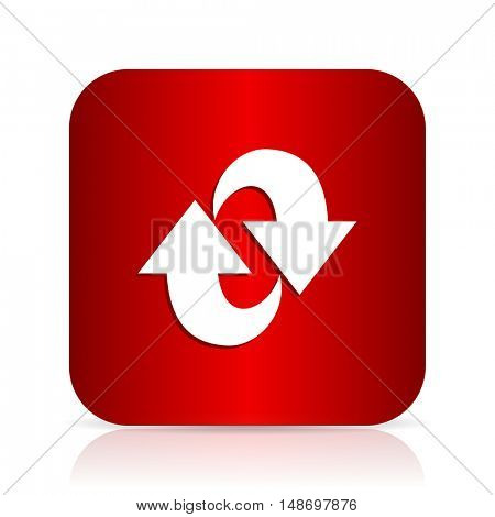 rotation red square modern design icon