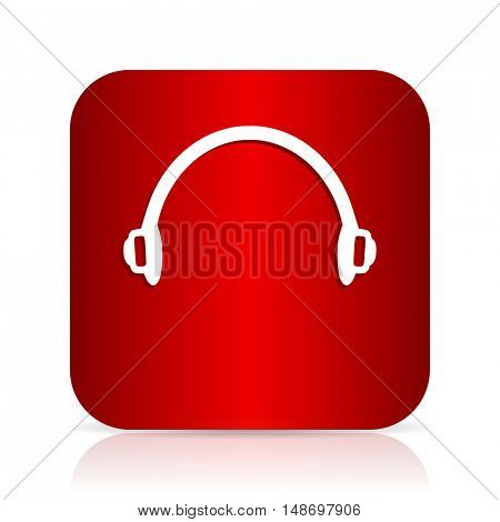 headphones red square modern design icon