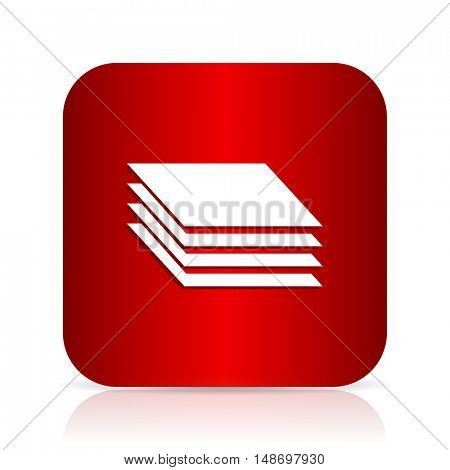 layers red square modern design icon