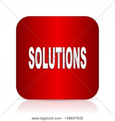 solutions red square modern design icon