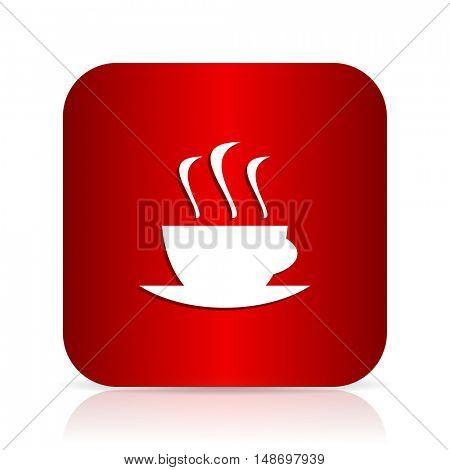 espresso red square modern design icon