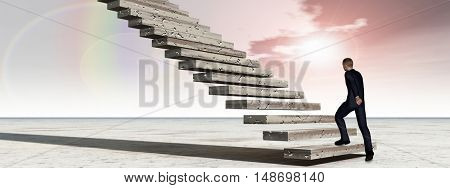 Concept conceptual 3D illustration business man walking or climbing stair on rainbow sky background banner with clouds