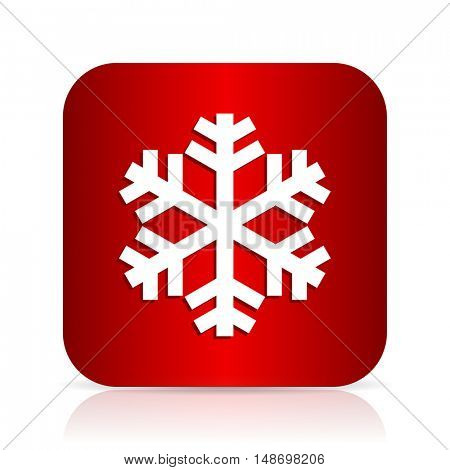 snow red square modern design icon