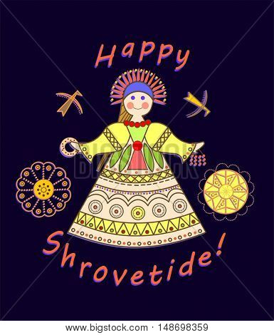 Greeting Shrovetide card with wishes and girl scarecrow
