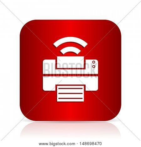 printer red square modern design icon