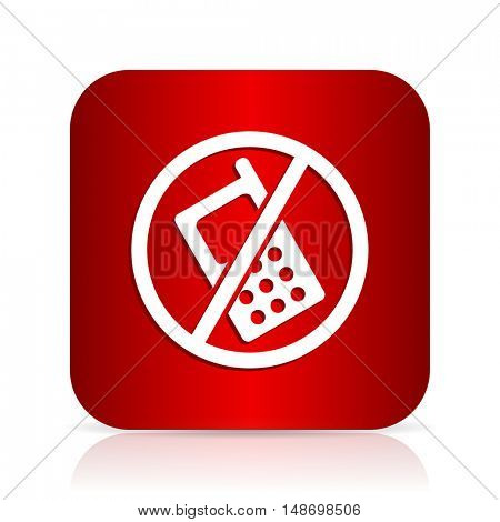no phone red square modern design icon