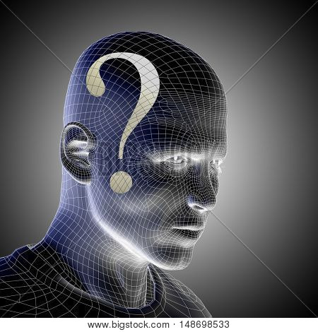 Concept or conceptual 3D illustration wireframe human male man question ask head on gray background