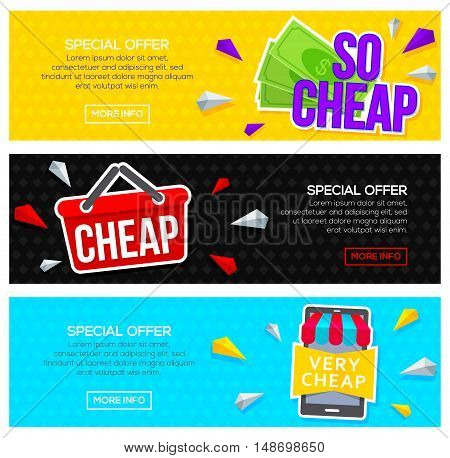 Very cheap banner set. Modern sale and discount banners for web. Vector illustration