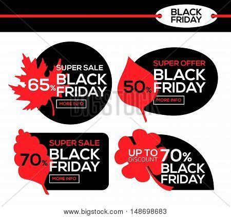 Black Friday sale. Black Friday banner with autumn leaf. Super offer. Vector illustration