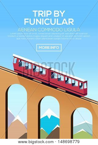 Trip by funicular train. Poster with climb by funicular against the sky and mountains. Stock vector