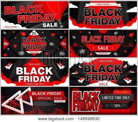 Set of black friday sale. Black friday web banner set. Vector illustration.
