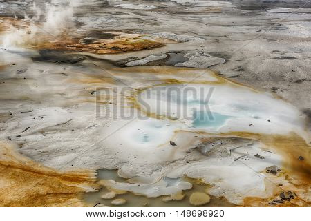 Steaming opaque thermal pools at Norris Geyser Basin. Yellowstone National Park, Wyoming - USA