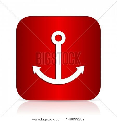 anchor red square modern design icon