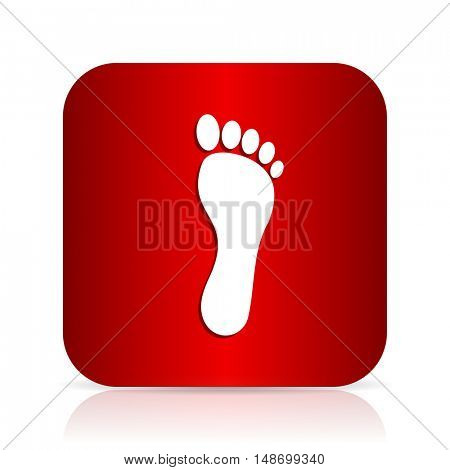 foot red square modern design icon