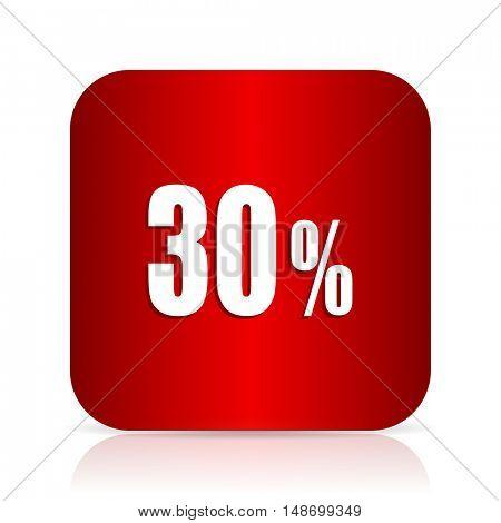 30 percent red square modern design icon