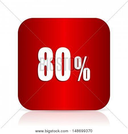 80 percent red square modern design icon