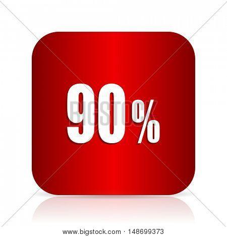 90 percent red square modern design icon