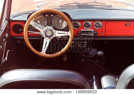 Ferrara Italy -September 24 2016. Interior of the Italian classic car Alfa Romeo photographed in Ferrara Italy