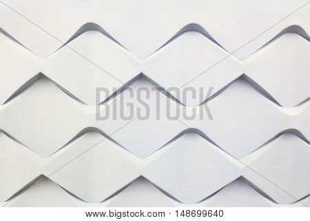 futuristic volume pattern on wall with repeating patterns in form of rhombus, architecture wallpaper