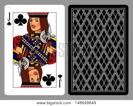 Jack of Clubs playing card and the backside background. Colorful original design