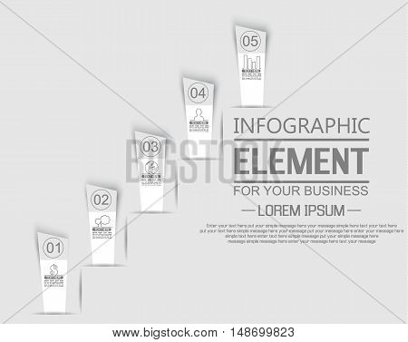 ELEMENT FOR INFOGRAPHIC TEMPLATE STIKER NUMBER OPTION LADDER OF SUCESS THIRD EDITION WHITE